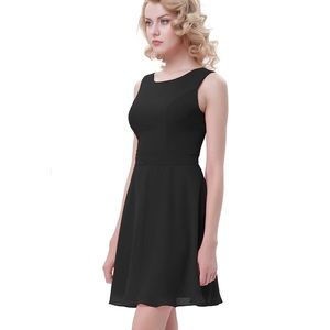 Kate Kasin Chiffon A-Line Sleeveless Dress Medium
